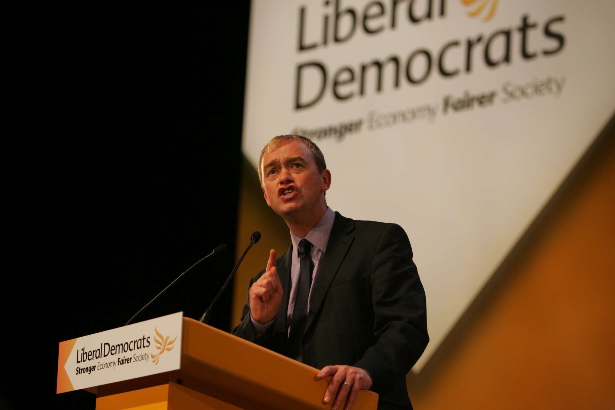 Tim Farron delivers his speech to Lib Dem conference