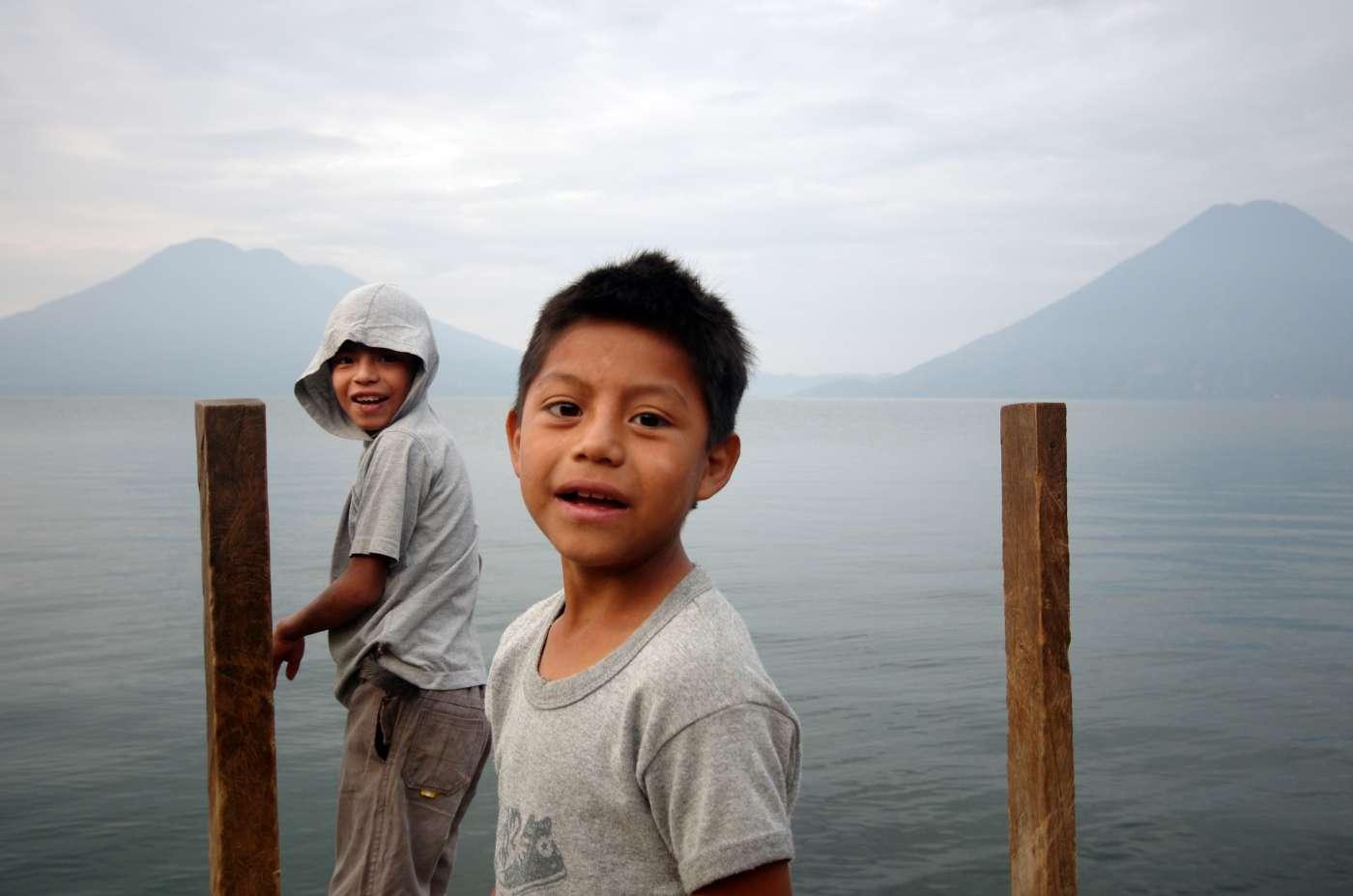 Kids on Lago de Atitlan, Guatemala