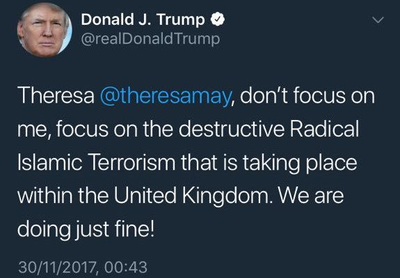 Donald Trump's Tweet to Theresa May