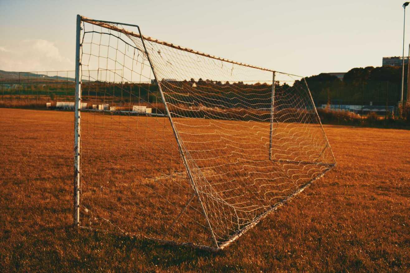 Deserted football goal
